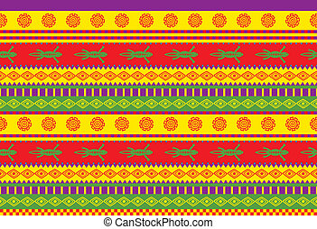 vivid traditional mexican style seamless vector pattern