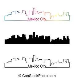 Mexico City skyline linear style with rainbow