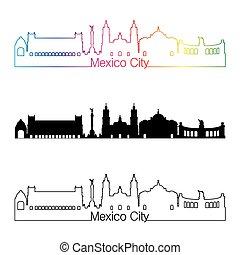 Mexico City V2 skyline linear style with rainbow