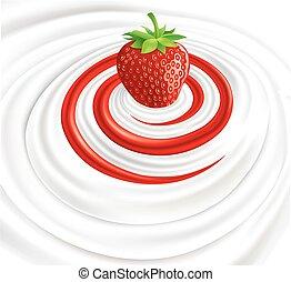 Milk swirl with fresh strawberry
