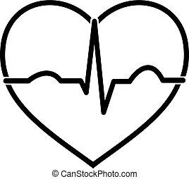 Minimal black and white heart ecg icon design