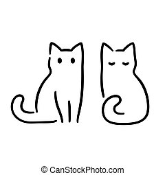 Simple and minimal cat ink drawing. Two sitting cats in traditional Japanese Zen art style. Cute vector illustration.