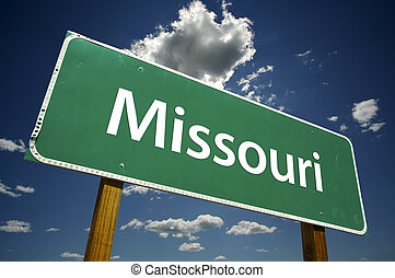 Missouri Road Sign with dramatic clouds and sky.