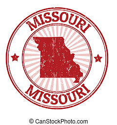 Grunge rubber stamp with the name and map of Missouri, vector illustration