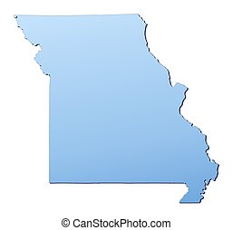 Missouri(USA) map filled with light blue gradient. High resolution. Mercator projection.