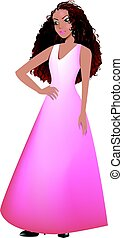 Mixed Woman Pink Gown