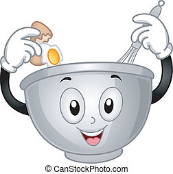 Mascot Illustration of a Mixing Bowl Cracking an Egg and Pouring it on Him