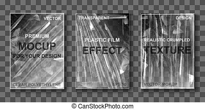 Mockup of transparent cellophane stretch film