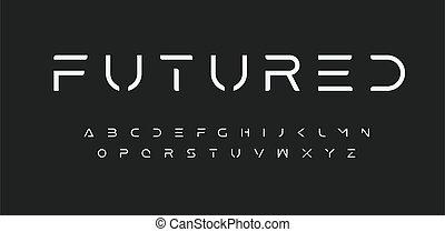 Modern Futured alphabet. Cutting-Edge sci-fi, space, futuristic font. Minimalist modular style letters for logo, headline, monogram, poster, music or movie cover. Vector future typographic design