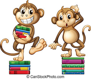 Illustration of two monkeys with books