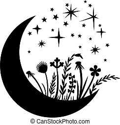 Moon and Reeds black layered vector