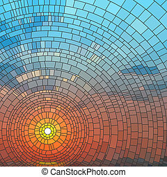 Vector illustration of sunset in blue sky in sea, stained glass window.