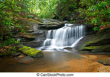 Motion Blur Waterfalls Peaceful Nature Landscape in Blue Ridge Mountains with lush green trees, rocks and flowing water