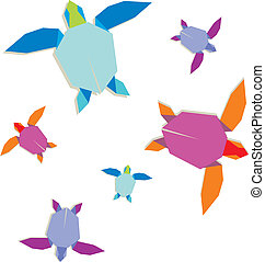 Multicolored origami turtle group