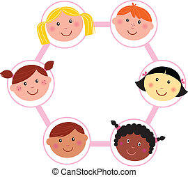 Multicultural kids head circle