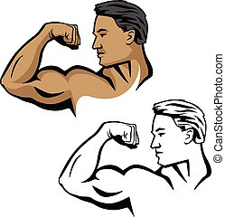 Muscular male flexing bicep arm muscle, pose with head sideways, vector illustration