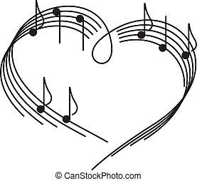 Music of love. The heart of the music camp with notes.