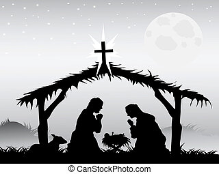 the background of nativity scene in vector form