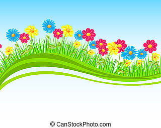 Vector illustration of colorful flowers on a nature background