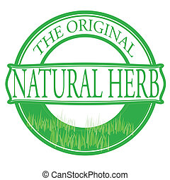 Stamp with text natural herb inside, vector illustration