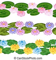 Natural seamless borders with lotus flowers and leaves. Background made without clipping mask. Easy to use for backdrop, textile, wrapping paper