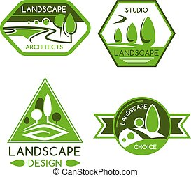 Nature emblem of green park and garden view with trees, plants, lawns and paths. Landscaping services, landscape design or architecture sign