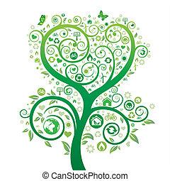 green tree illustration, environment icon