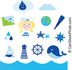 Stylized ocean icon set. Smiling small adventurer with accesories: map, compass, lighthouse, earth globe, whale, sea food and other elements.