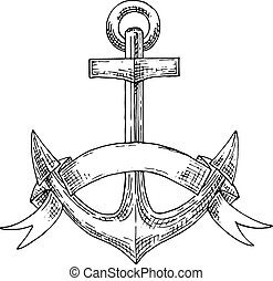 Nautical admiralty anchor with ribbon sketch