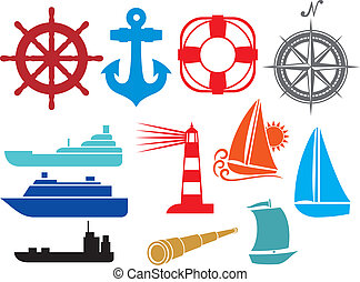 nautical and marine icons (boat and ship icons set, stylized yacht, lifesaver, anchor, sailboat symbol, lighthouse icon, compass, marine travel icons, spyglass)