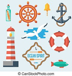 Nautical and marine icons. Vector illustration.