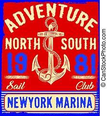 Nautical Design  Anchor Graphic Sailor vector set Hand drawing T-shirt Printing