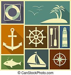 Nautical flat icons
