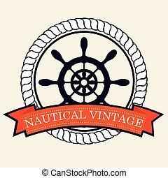 nautical frame with ship timon vector illustration design
