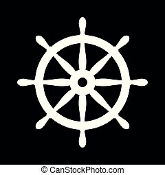 Nautical helm. Ship and boat steering wheel sign. Boat wheel control icon. Rudder label.