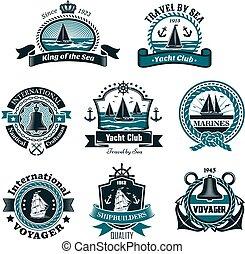 Nautical icons and vector marine symbols set