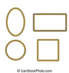 Nautical rope frame set. Rope border nautical frame, vector illustration