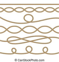 Nautical ropes decoration element set. Vector illustration