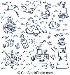 Nautical Sea Design Elements - for scrapbook and design in vector