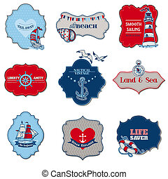 Nautical Sea Tag Elements - for scrapbook and design in vector