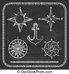 Nautical symbols - compass, anchor