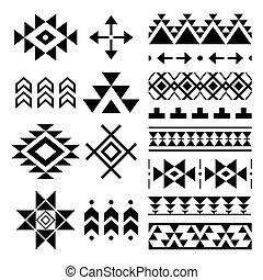 Vector folk seamless Aztec ornament, ethnic collection, tribal art
