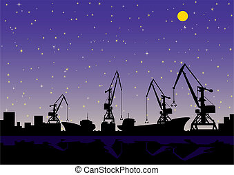 Night landscape. In the port of loading and unloading cargo ships.