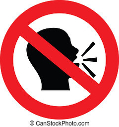 a sign showing no talking or chat is allowed