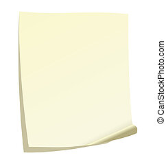 Illustration of note paper with a curl. Vector