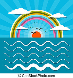 Ocean Abstract Retro Vector Illustration with Sun, Birds, Rainbow