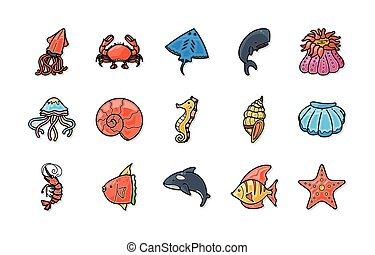 Ocean and Marine icons set, eps10