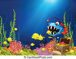 Ocean Underwater Cartoon. Coral Reef with Alga and Fish. Vector.