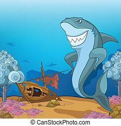 Ocean Underwater World Cartoon. Coral Reef with Alga and Fish. Vector.
