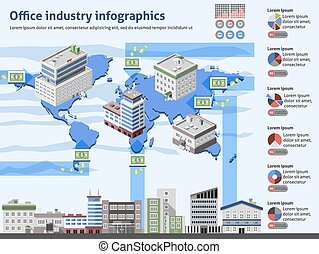 Office industry infographics with business buildings world map and charts vector illustration
